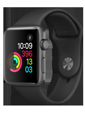 Apple Watch Series 2 42mm - šedý hliník, černý sportovní řemínek