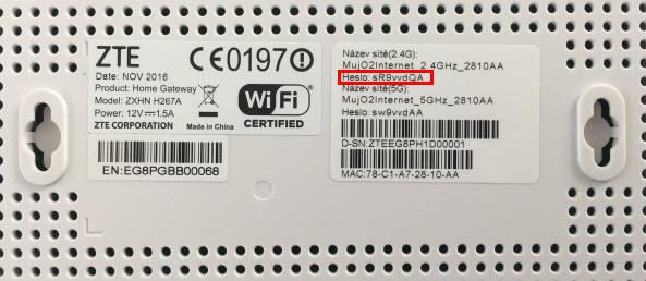O2 | Základní modem ZTE H267A - Nastavení přístupového hesla do
