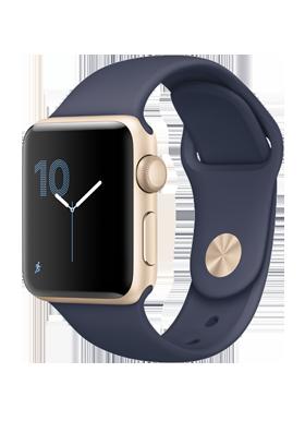 Apple Watch Series 2 38mm - zlatý hliník, půlnočně modrý sportovní řemínek