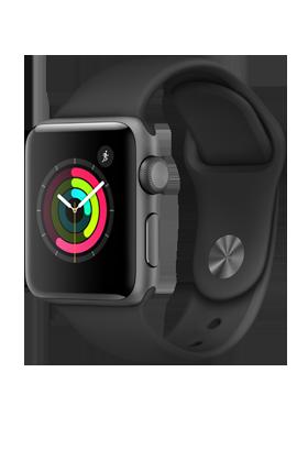 Apple Watch Series 2 38mm - šedý hliník, černý sportovní řemínek