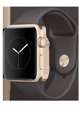 Apple Watch Series 2 42mm - zlatý hliník, kakaově hnědý sportovní řemínek