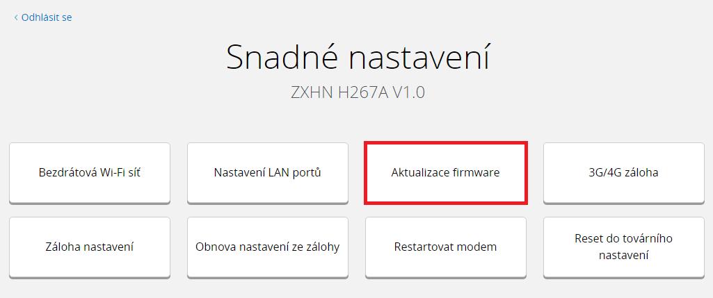 O2 | Základní modem ZTE H267A - Upgrade firmware - Modemy